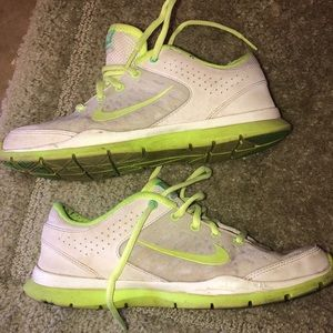 Nike training shoes, neon yellow, size 7